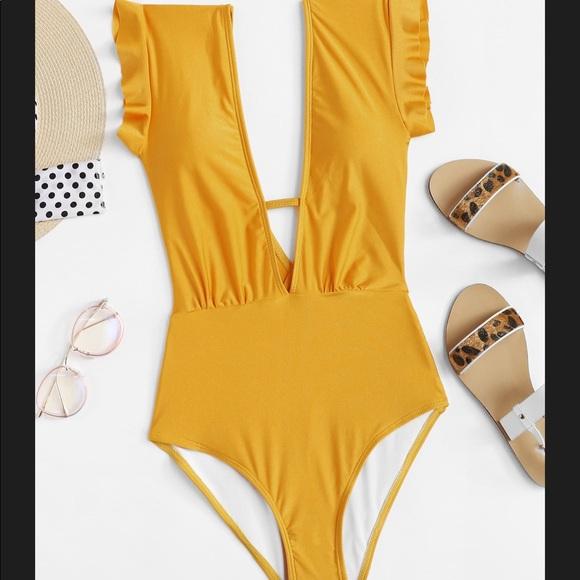 f6c0a2032d SHEIN Swim | Vplunge Ruffle Shoulder One Piece Suit | Poshmark